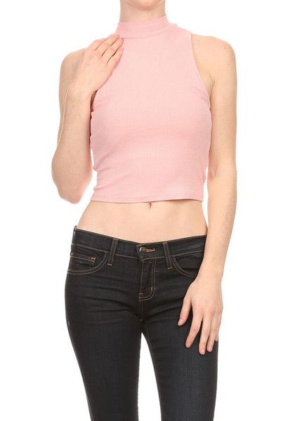Women Tight Rib Knit Sleeveless Mockneck Turtleneck Cropped Tank Top Shirt - Size Type: Junior / Young Contemporary - Special Style: Tight rib knit sleeveless crop top with mock neck - Pattern: Solid