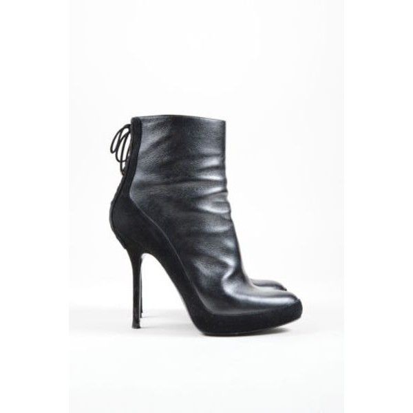 Pre-Owned Christian Dior Black Leather Suede Lace Up Heeled Ankle... ($335) ❤ liked on Polyvore featuring shoes, boots, ankle booties, black, leather ankle boots, black suede bootie, black suede boots, lace up platform booties and laced up ankle boots
