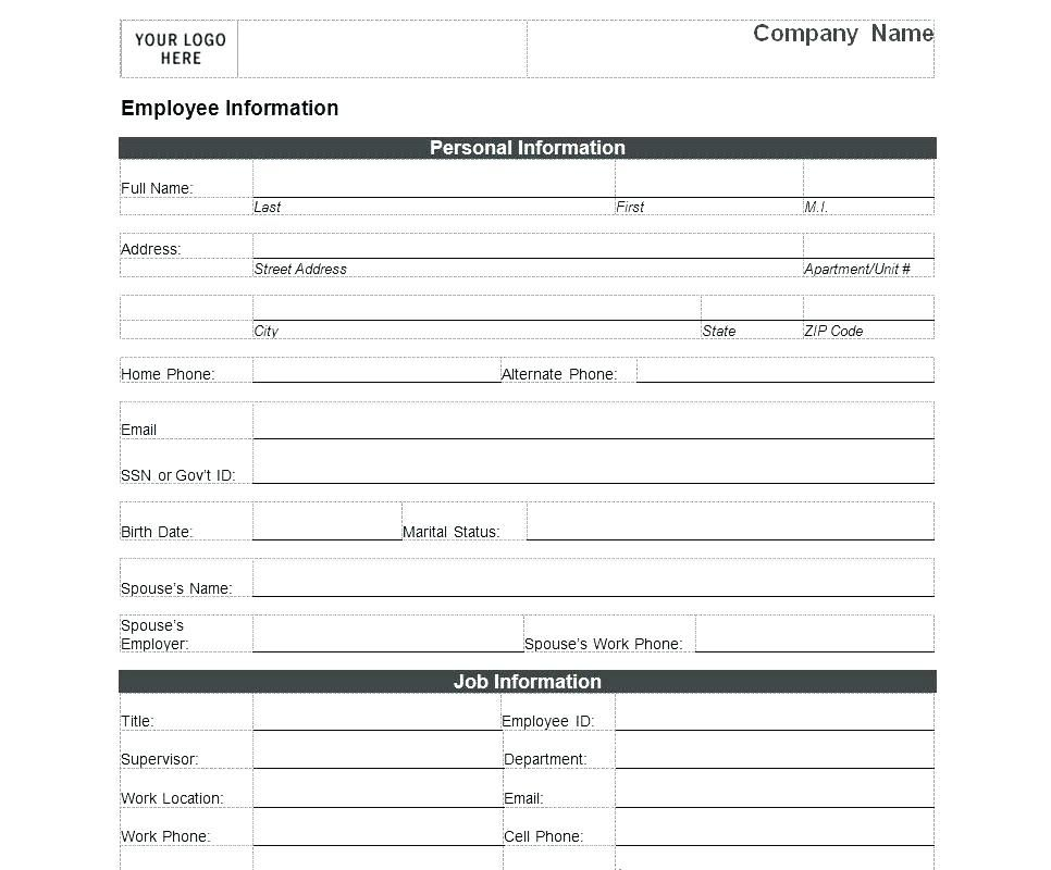 Employee Data Form Template Personal New Word Template
