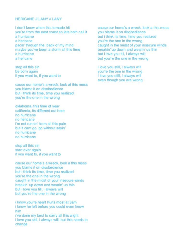 Hericane Lany Lany Lany Lyrics Lany Lifetime Quotes
