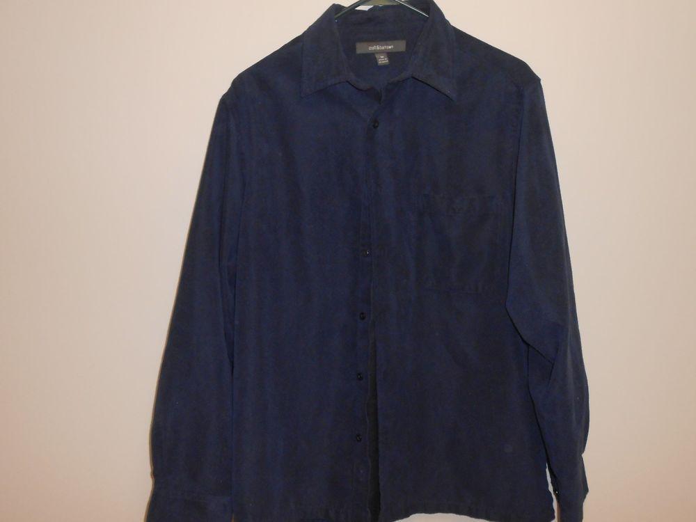 Croft Barrow Mens Shirt Size Med Button Front Navy Blue Long