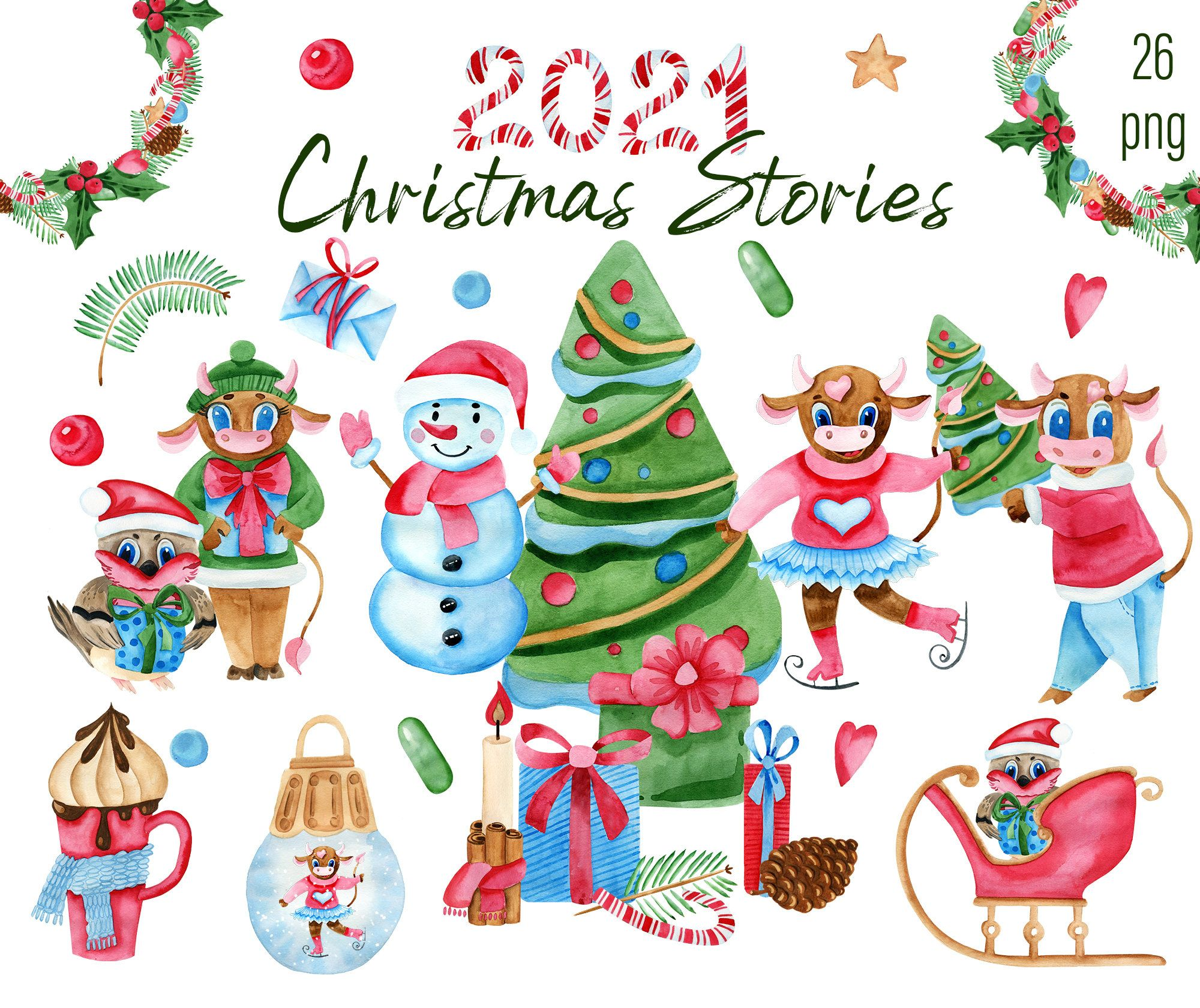 Watercolor New Year Clipart Zodiac Clip Art Cute Bull Symbol Of 2021 Christmas Animal Clipart Family Clipart New Year Clipart Clip Art Animal Clipart