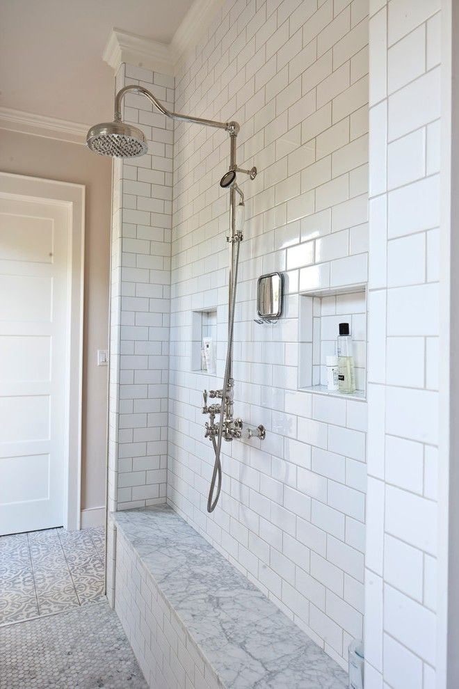 Austin Carrara Marble Subway Tiles Bathroom Farmhouse With Shower Bench Freestanding Vanities Tops Shower Plumbing Tile Bathroom Traditional Bathroom Vanity