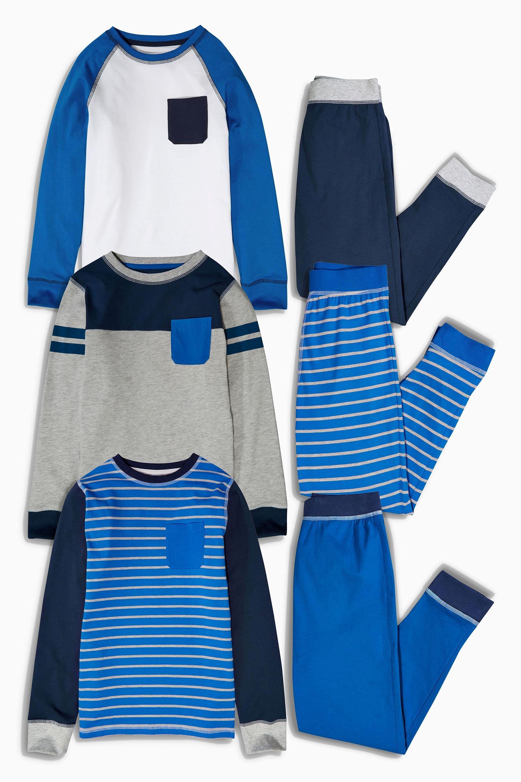Buy Three Pack Blue Stripe Drop Crotch Pyjamas (3-16yrs) from the Next UK  online shop f9f89abdf