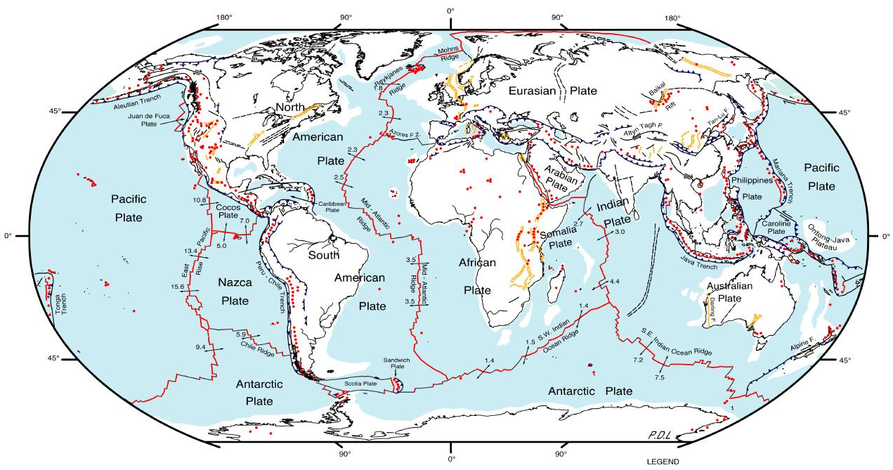 Fault Lines In The World Earthquake Map World Map Of Fault Lines - West coast fault lines