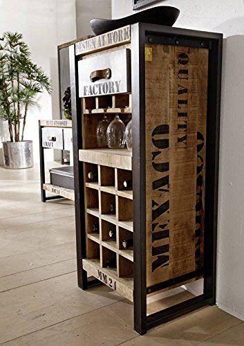Botellero hierro madera maciza de madera mango macizo - Muebles industriales antiguos ...