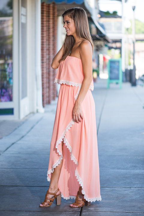 """Divine Design Maxi Dress, Peach"""