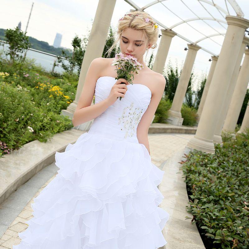 Cheap Plus Size Wedding Dress 2017 Beaded Strapless Bodice: Corset Organza Beaded Ruffled Plus Size Wedding Dress