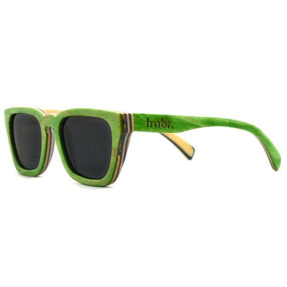 Verde acero legno occhiali da sole, occhiali in legno 7-Ply, riciclato Skateboard legno occhiali da sole on Etsy, Venduto