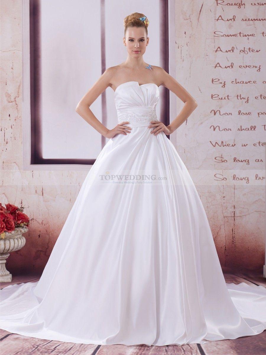 Prisilla - Asymmetrical Neckline Strapless Satin Wedding Gown with ...