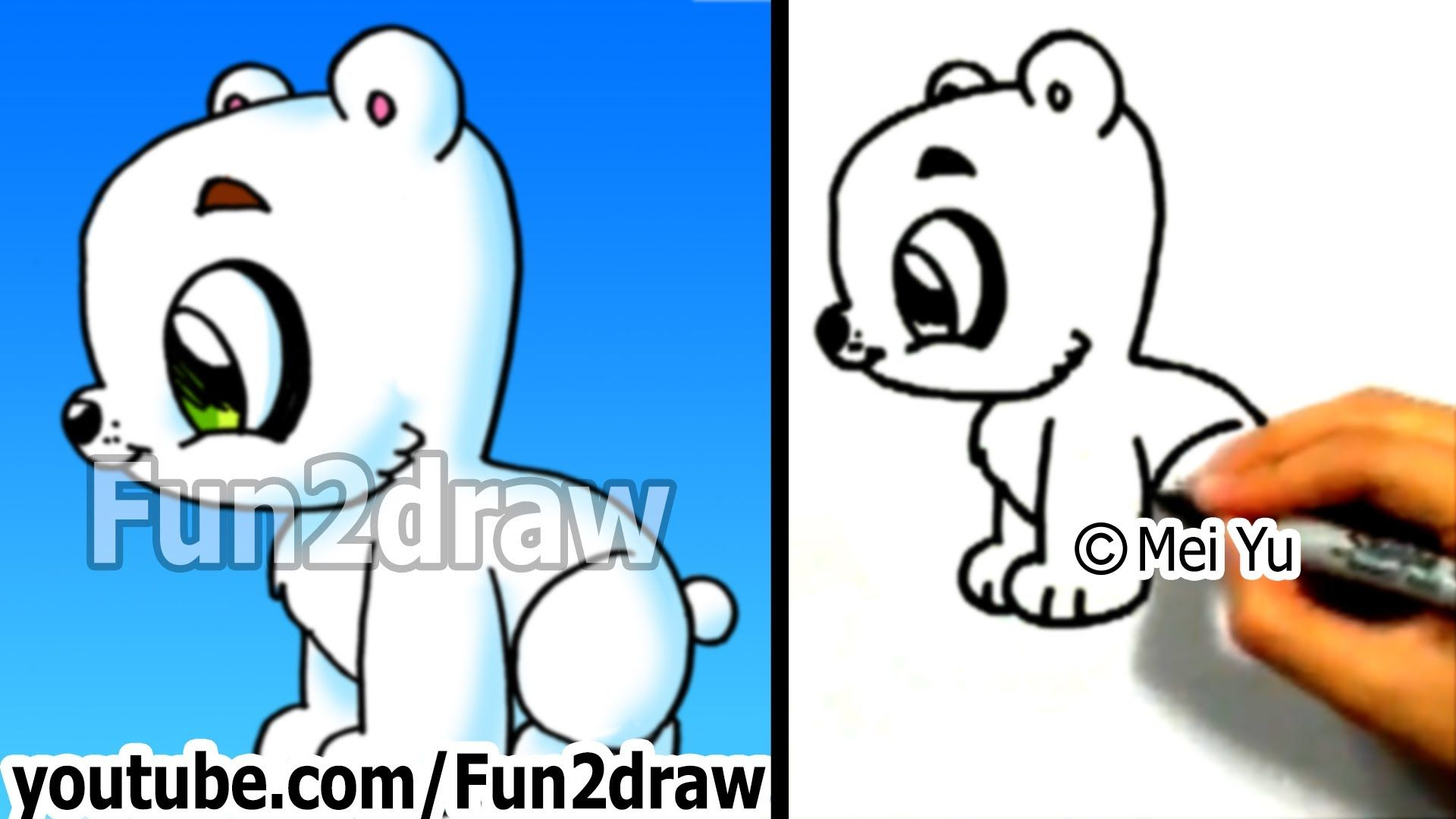 How to draw a cartoon polar bear how to draw easy things for How to draw easy stuff but cute