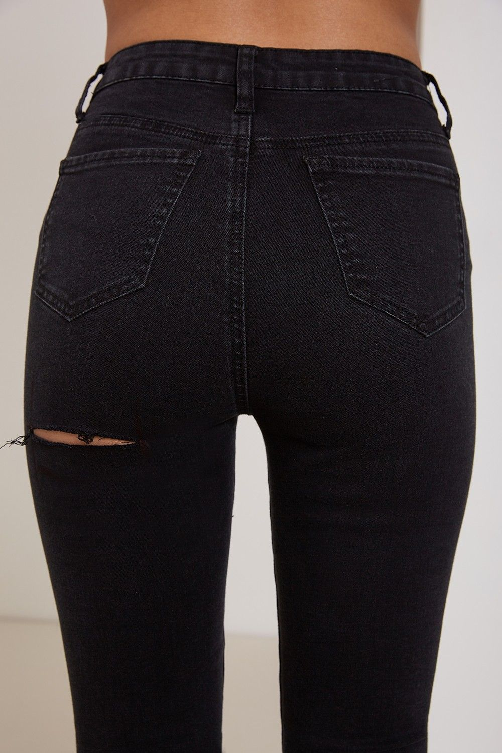 b380811c49946 Karlie High Waisted Bum Rip Skinny Jeans Black - Denim - Shop by Category -  Clothing