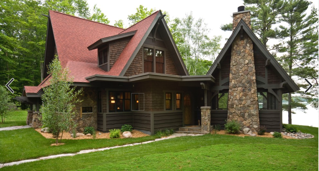 Dark Brown Siding With Red Roof Red Roof House Log Cabin Exterior Rustic Exterior
