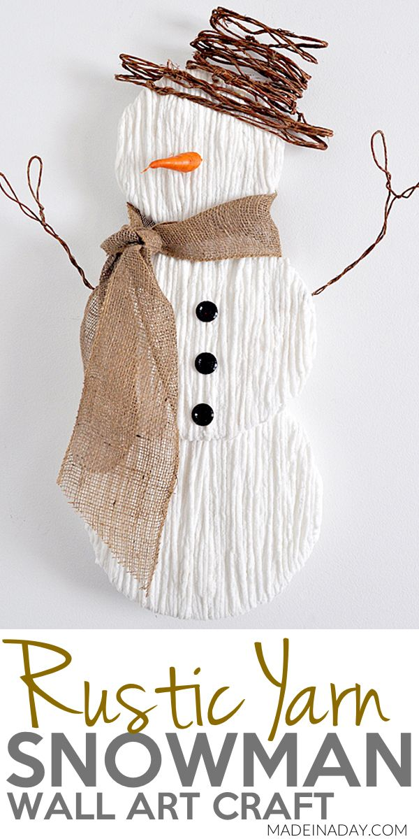 Cure the #winter blues by making this sweet Yarn #Snowman Wall Art, #rustic snowman door hanger, snowman wall art, snowman craft, burlap snowman door hanger, #diy snowman door hanger #wallart