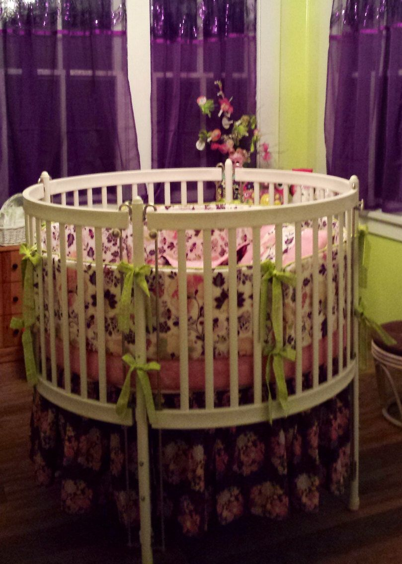 Custom Round Crib Bedding In Pink And Purple Made To Order By Erbeansboutique On Etsy Https