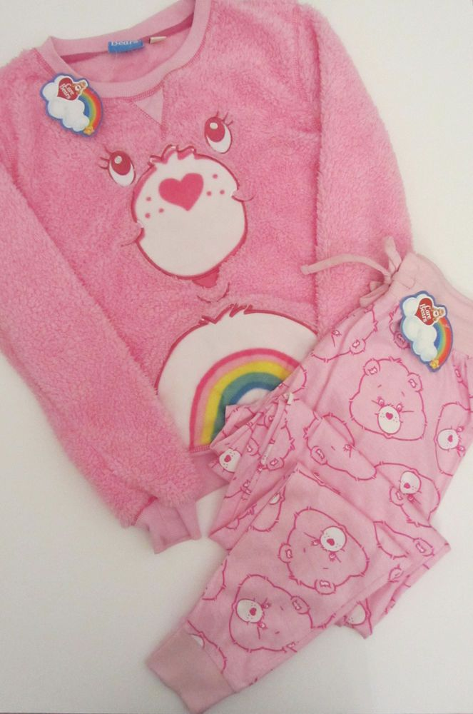 Primark Pink CARE BEARS CHEER BEAR Fluffy Jumper   Lounge Pants Pyjama Set  PJ s  22581e101