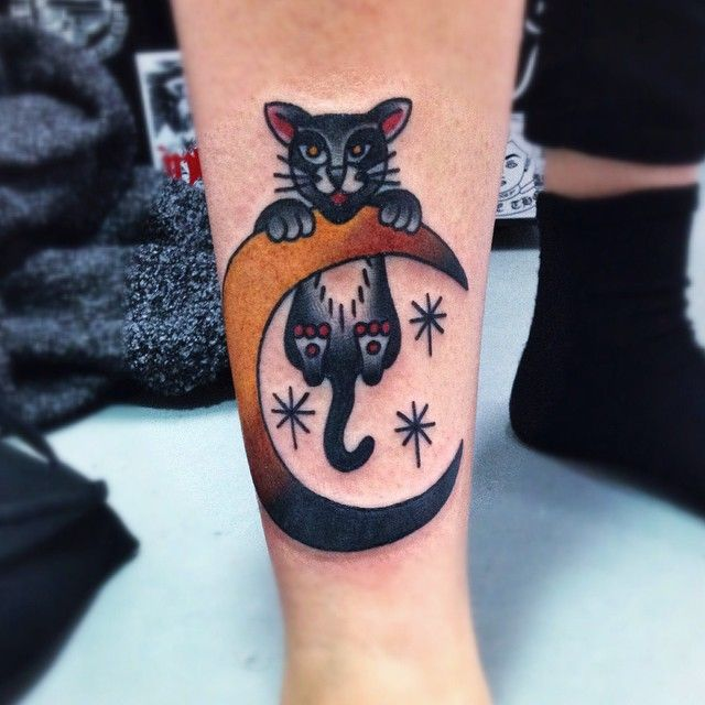 "#moon #cat #tattoo ""Hang in there, kitty! Thanks, Zoe! I have spaces next week """