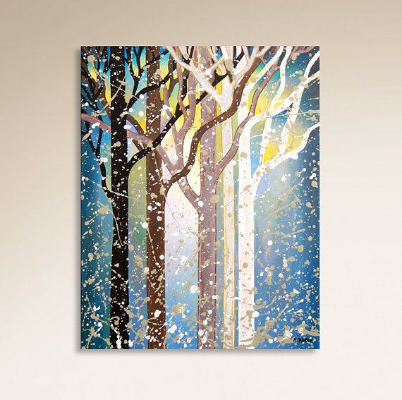 Abstract Trees Original Acrylic Painting On Canvas Modern Tree