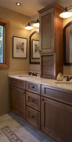 bathroom double sinks with tower storage Google Search