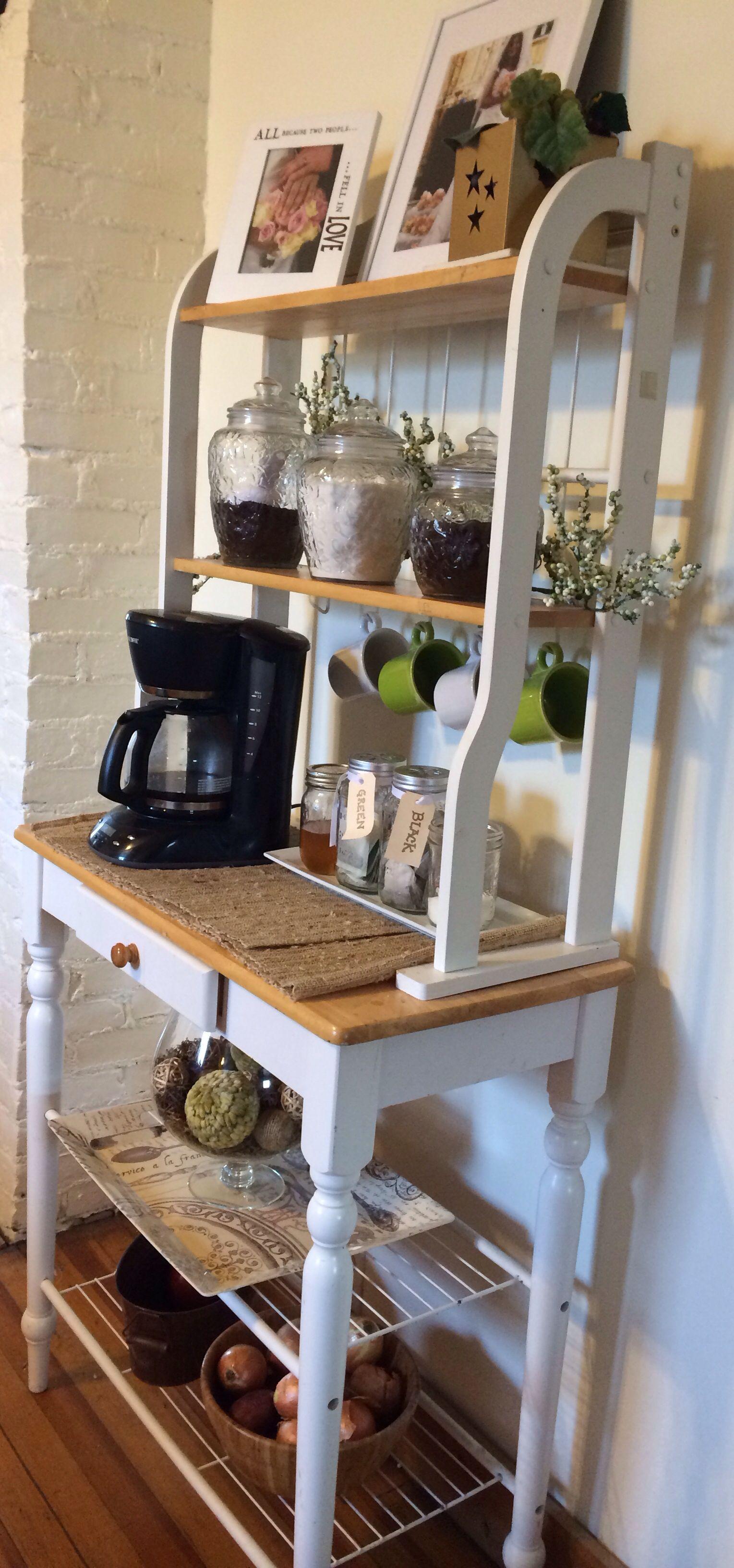 Coffee And Tea Bar Bakers Rack Diy Coffee Bar Coffee Bar Home