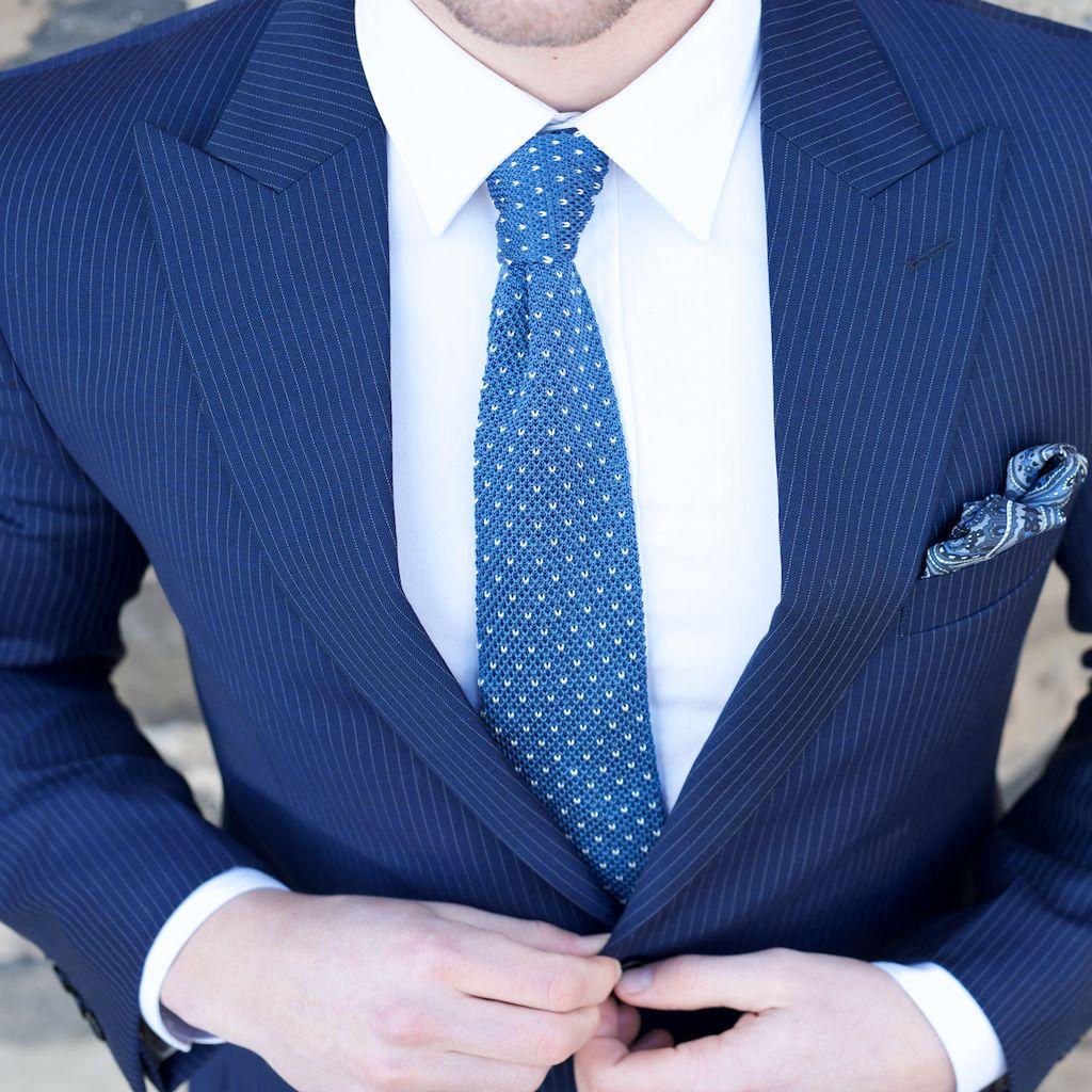 Blue white dotted silk knitted tie tie pinterest knit tie tie