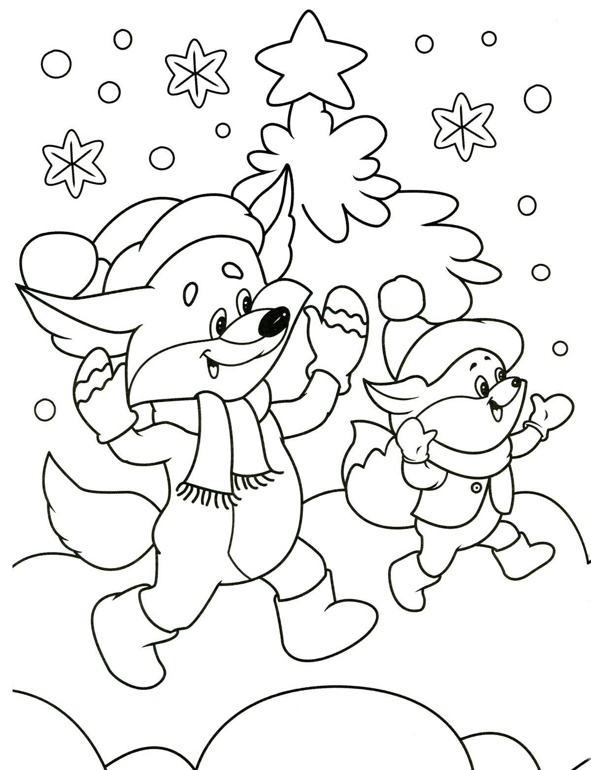 зимняя раскраска | Раскраски, Рисунки для раскрашивания