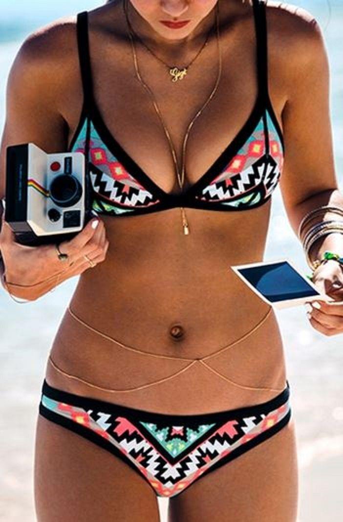 cc98b7651ad40 Love this Bohemian Style Bikini! Coral Aqua Black White Color Block  Geometric Print Bikini Set