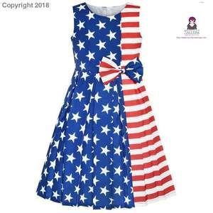 Girls Dress American Flag National Day Party Dress 2019 Summer Princess Wedding Dresses Children Clothes Pageant Sundress Girls Dress American Flag National Day Party Dre...