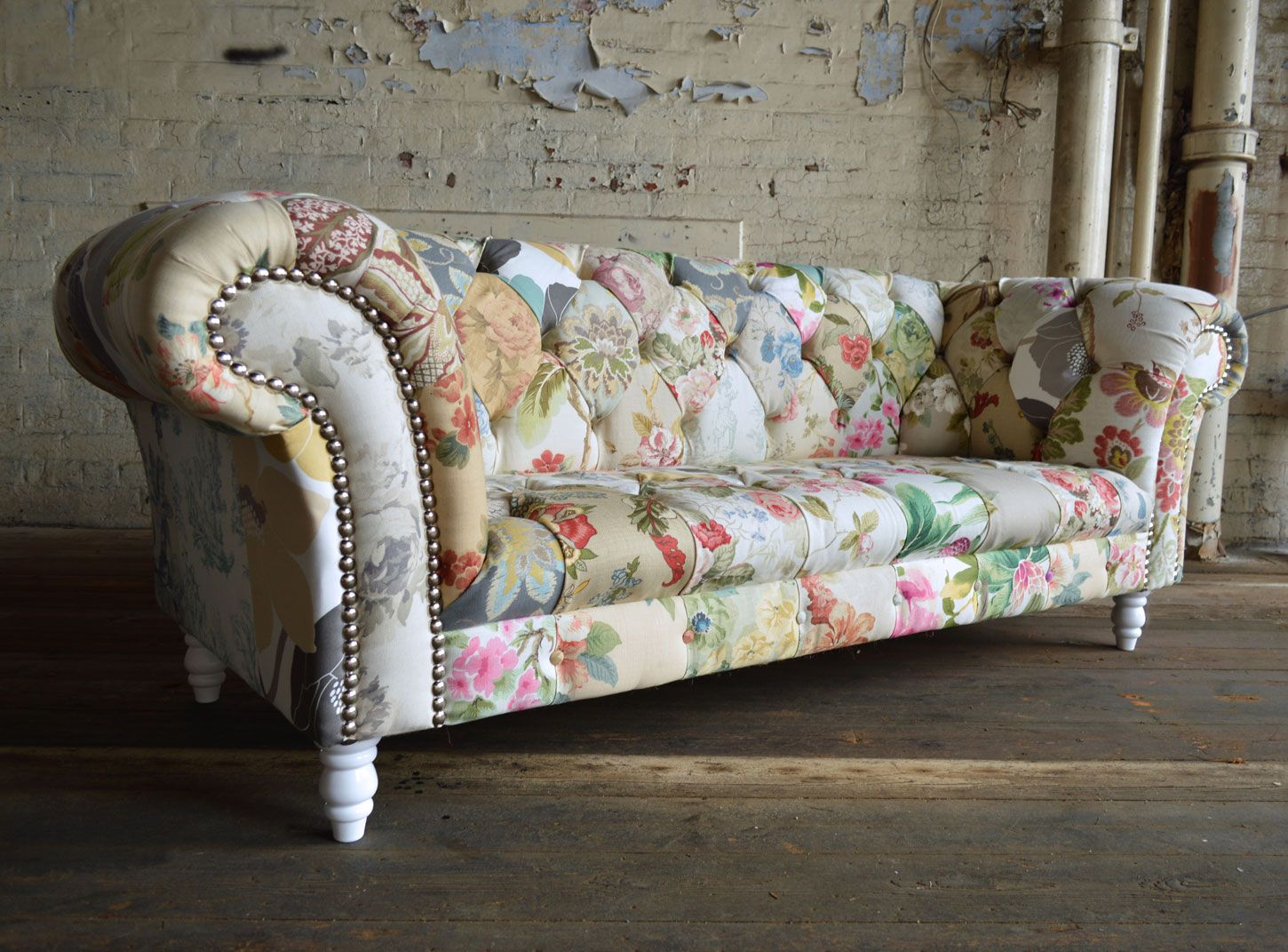 Shabby Chic 3 Seater Patchwork Chesterfield Sofa Shabby Chic Sofa Vintage Modern Sofa Shabby Chic Furniture