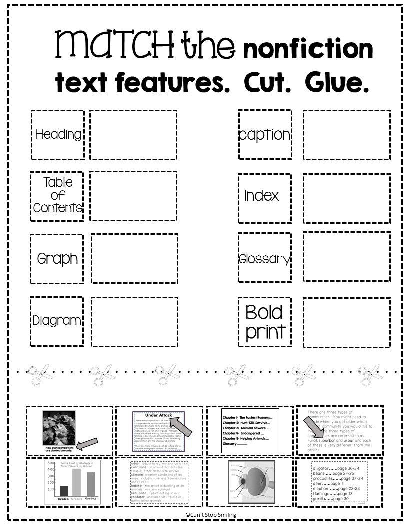 FREE Nonfiction Text Features Matching Activity   Text features worksheet [ 1056 x 816 Pixel ]