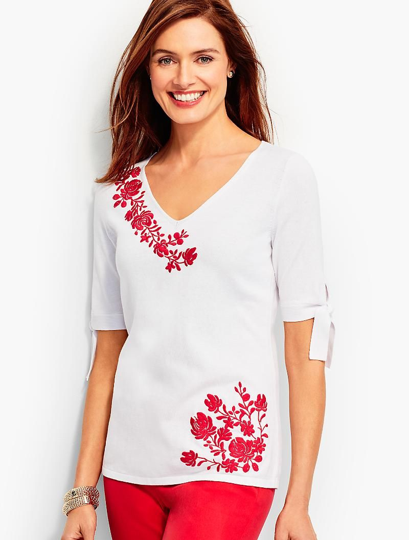 dcf38eaa9 Embroidered Tie-Sleeve V-Neck Sweater | Talbots | Talbots | Cotton ...