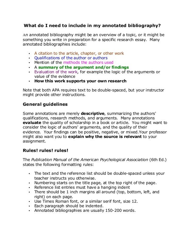 Sample APA Annotated Bibliography college degree online - statement of qualifications example