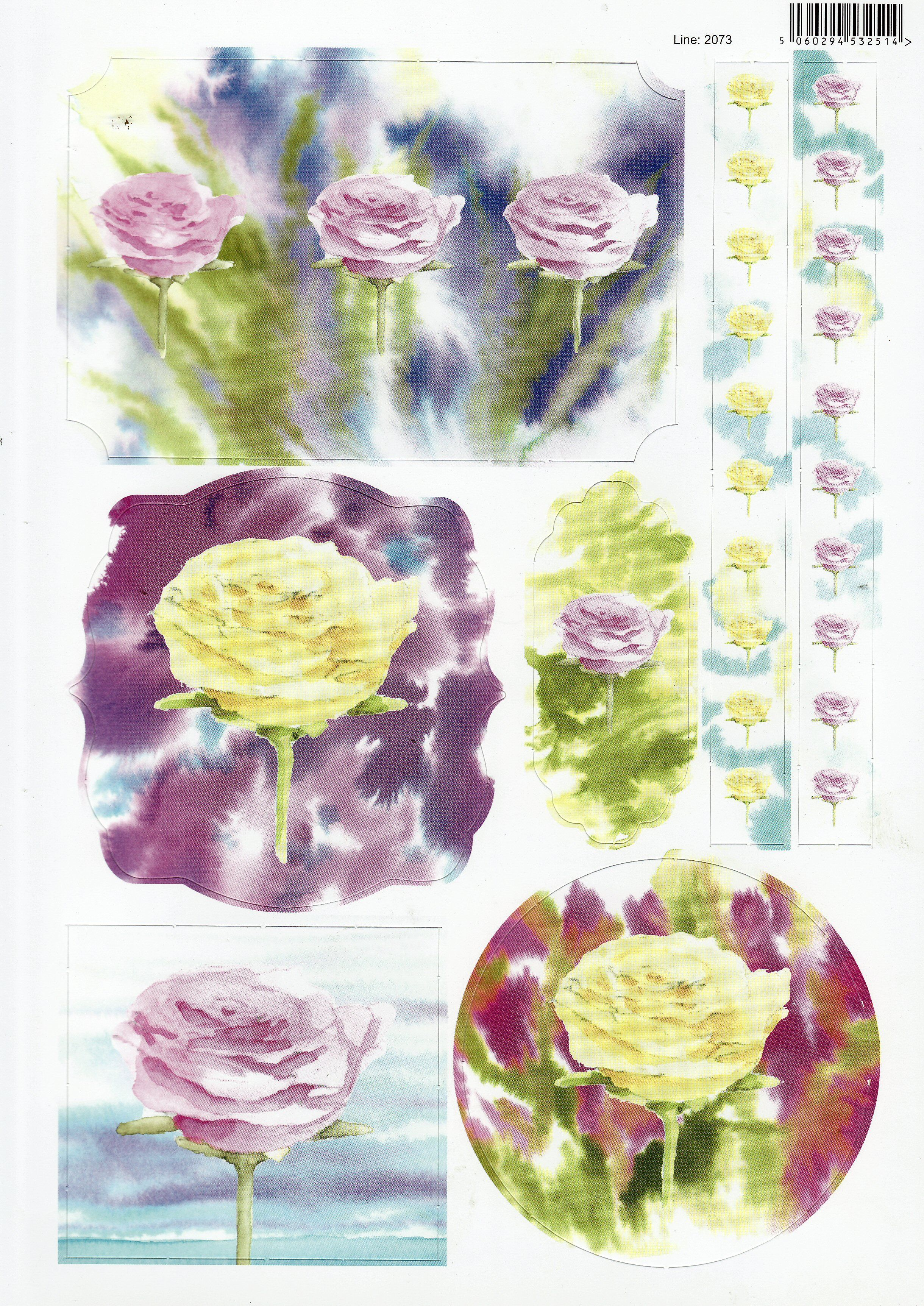 Roses yellow u pink with borders painted with water colour a die