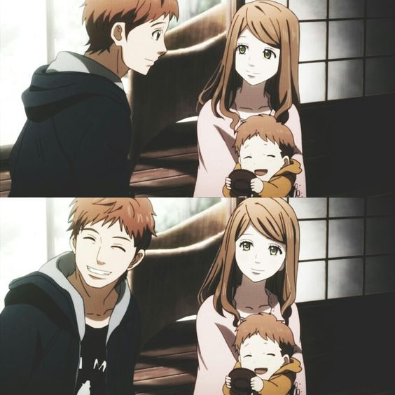 Orange Naho Suwa And Their Child You Ve Got To Admit They Are A Pretty Cute Family Anime Orange Anime Anime Movies