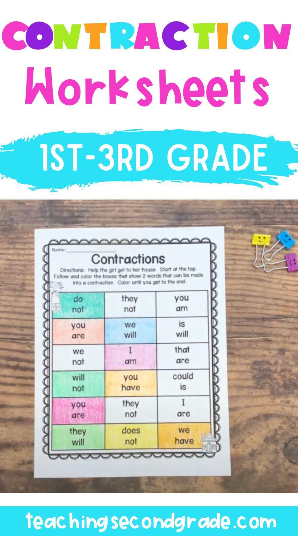 Contractions   Contraction Worksheets   School age activities [ 1800 x 1000 Pixel ]