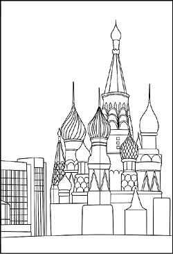 Basilius Kathedrale In Moskau Als Malvorlage Basilius Kathedrale