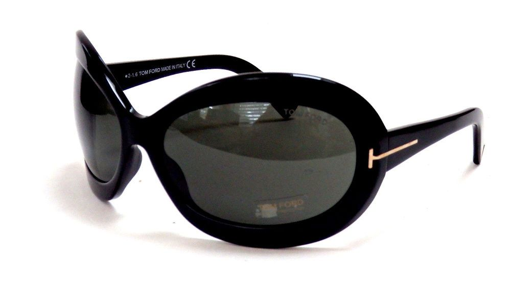Tom Ford Edie Tf0428 01a Black Gold Oval Sunglasses Italy Shades