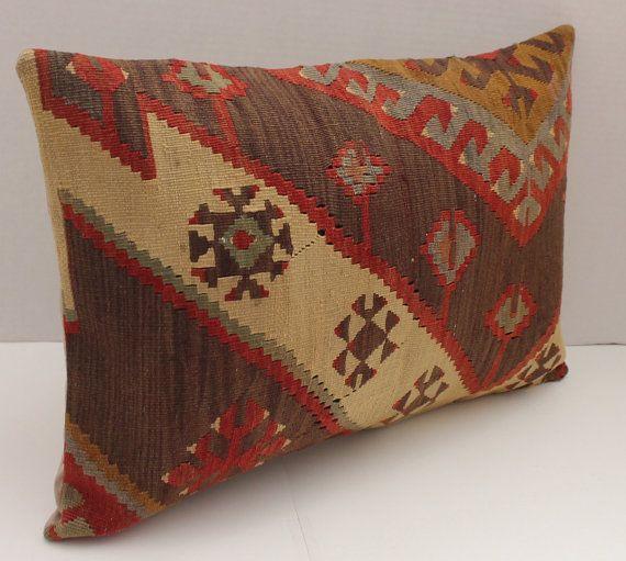 Decorative 16 X 24 Red Brown Sage Lumbar Pillow Vintage Turkish