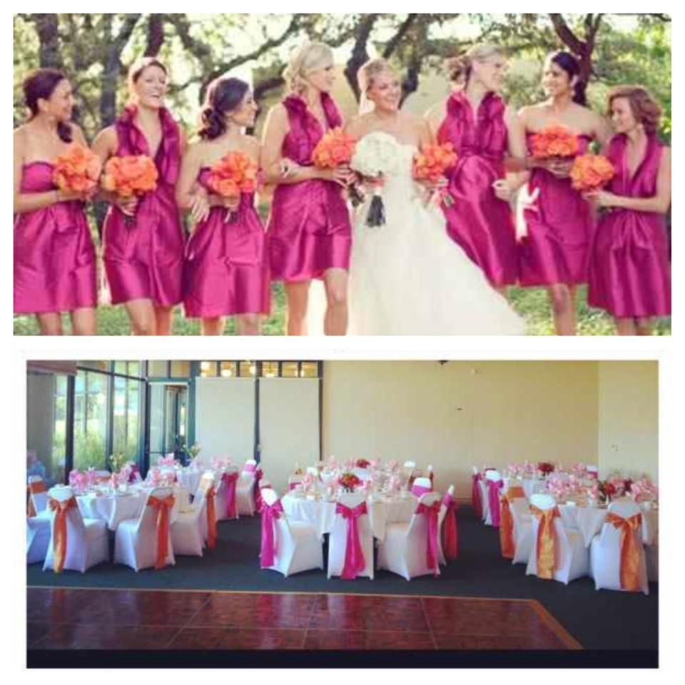 Wedding Reception Chair Rental: Our White Spandex Chair Covers With Fuchsia And Orange