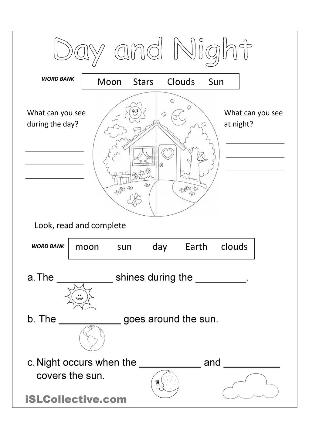 DAY AND NIGHT free worksheet | EN Kids | Pinterest | Kind