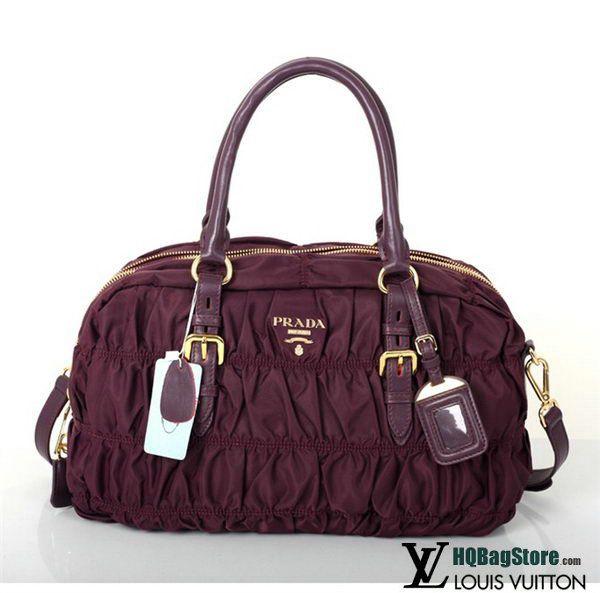 46425145a870 1:1 Replica Prada Gaufre Fabric Top Handle Bag BN0759 Burgundy - gaufre'  Fabric