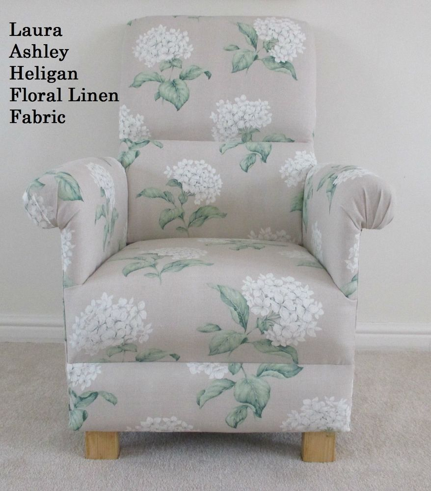 Laura Ashley Heligan Linen Floral Fabric Adult Chair