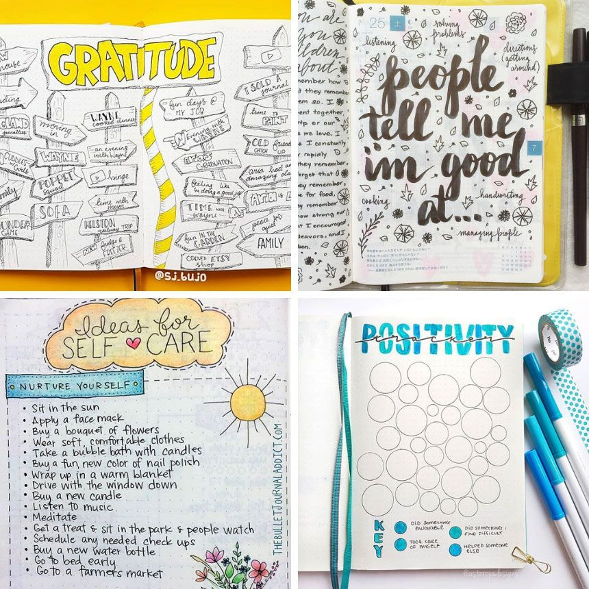 Mental health bullet journal layout