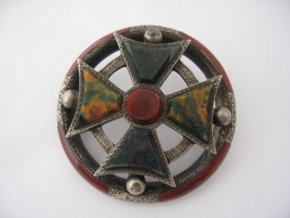 Estate Large Victorian Scottish Maltese Sterling Agate Cross Brooch Pin