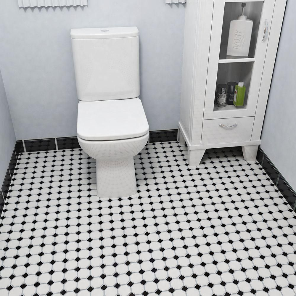 Merola Tile Metro Octagon Matte White And Black 11 1 2 In X 11 1 2 In X 5 Mm Porcelain Mosaic Tile 9 38 Sq Ft Case Fxlm2owd The Home Depot White Mosaic Tiles