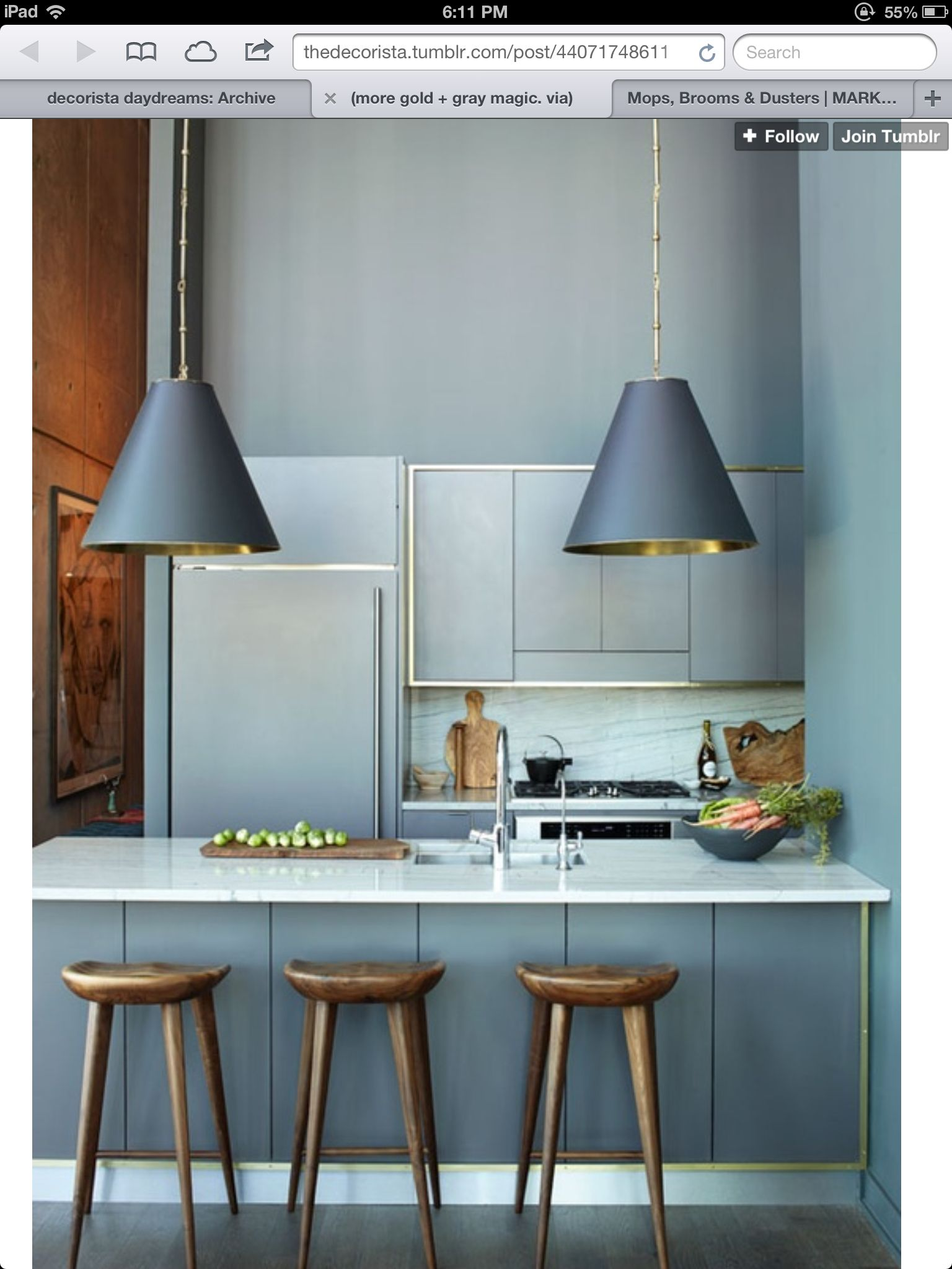 Love this kitchen and the touch of brass | For the Home | Pinterest ...