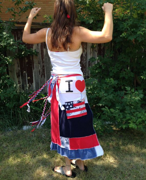 552debaed Upcycled 4th of July maxi wrap skirt