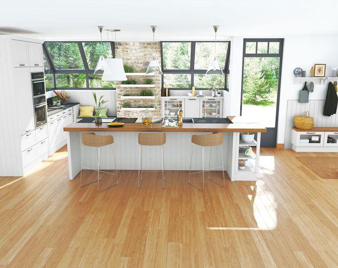 Une #cuisine comptoir ouverte sur lu0027extérieur    wwwm-habitat - amenager une cuisine ouverte