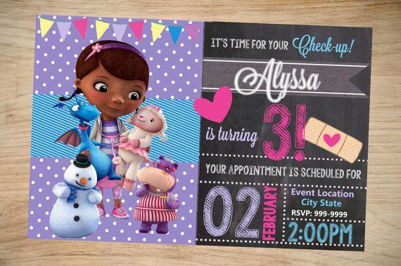Invitación Mcstuffins Pizarra Por Doctor Cumpleaños Partyboxinvites E9WDeIYH2
