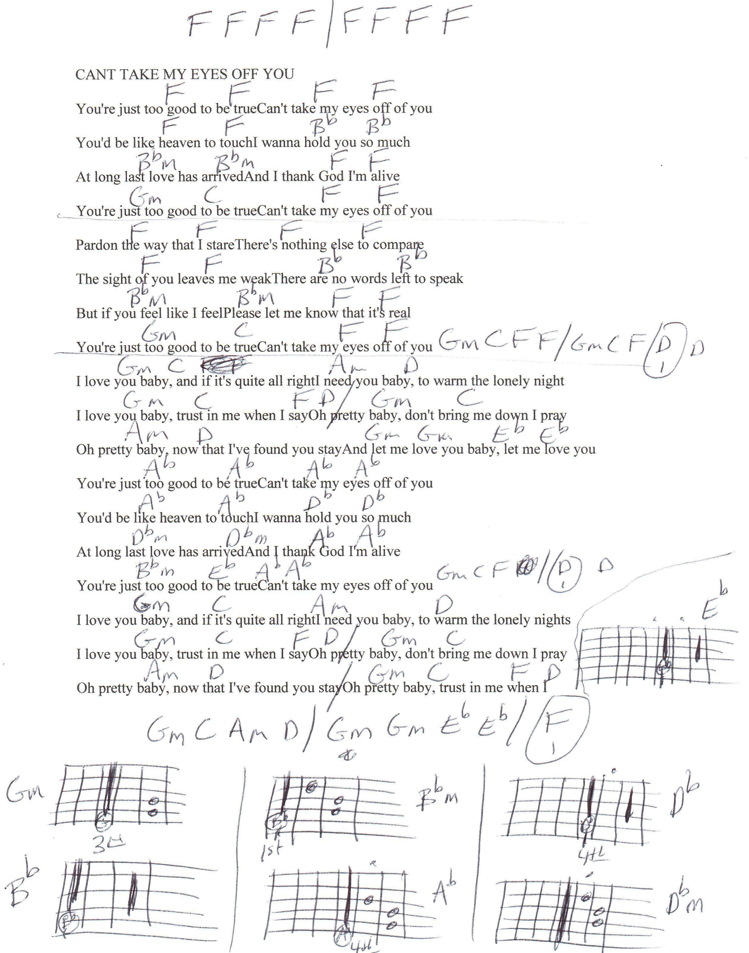 Cant Take My Eyes Off You Franki Valli Guitar Chord Chart Learn